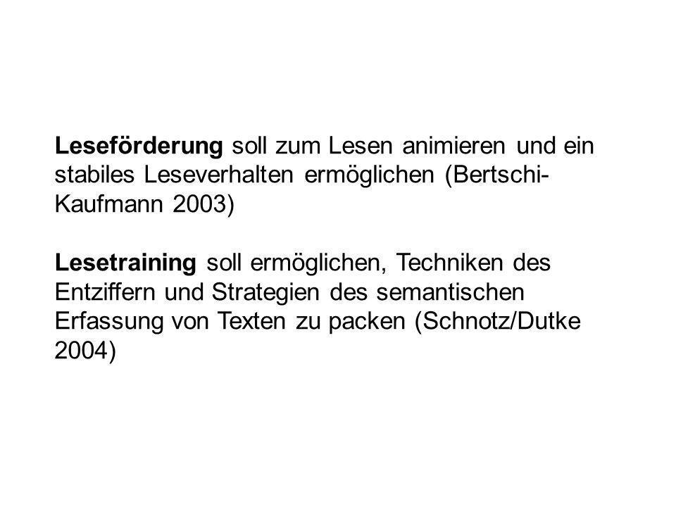 Leseförderung soll zum Lesen animieren und ein stabiles Leseverhalten ermöglichen (Bertschi- Kaufmann 2003) Lesetraining soll ermöglichen, Techniken d
