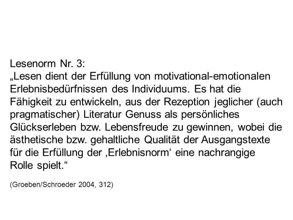 Lesenorm Nr. 3: Lesen dient der Erfüllung von motivational-emotionalen Erlebnisbedürfnissen des Individuums. Es hat die Fähigkeit zu entwickeln, aus d