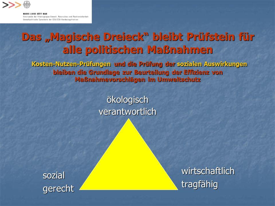 Das Magische Dreieck bleibt Prüfstein für alle politischen Maßnahmen Kosten-Nutzen-Prüfungen und die Prüfung der sozialen Auswirkungen bleiben die Gru
