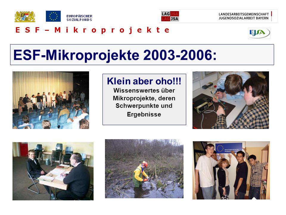 E S F – M i k r o p r o j e k t e ESF-Mikroprojekte 2003-2006: Klein aber oho!!! Wissenswertes über Mikroprojekte, deren Schwerpunkte und Ergebnisse