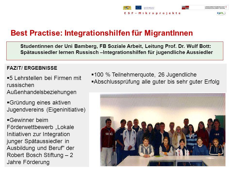Studentinnen der Uni Bamberg, FB Soziale Arbeit, Leitung Prof. Dr. Wulf Bott: Spätaussiedler lernen Russisch –Integrationshilfen für jugendliche Aussi