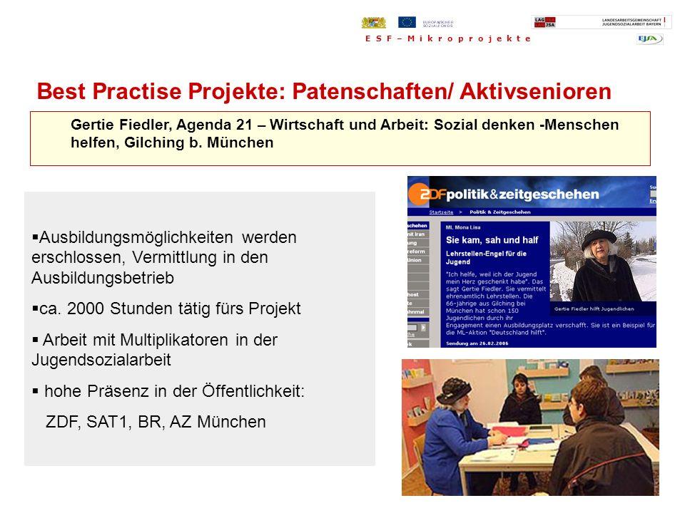 Gertie Fiedler, Agenda 21 – Wirtschaft und Arbeit: Sozial denken -Menschen helfen, Gilching b. München Ausbildungsmöglichkeiten werden erschlossen, Ve
