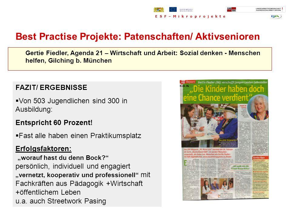 Gertie Fiedler, Agenda 21 – Wirtschaft und Arbeit: Sozial denken - Menschen helfen, Gilching b. München FAZIT/ ERGEBNISSE Von 503 Jugendlichen sind 30