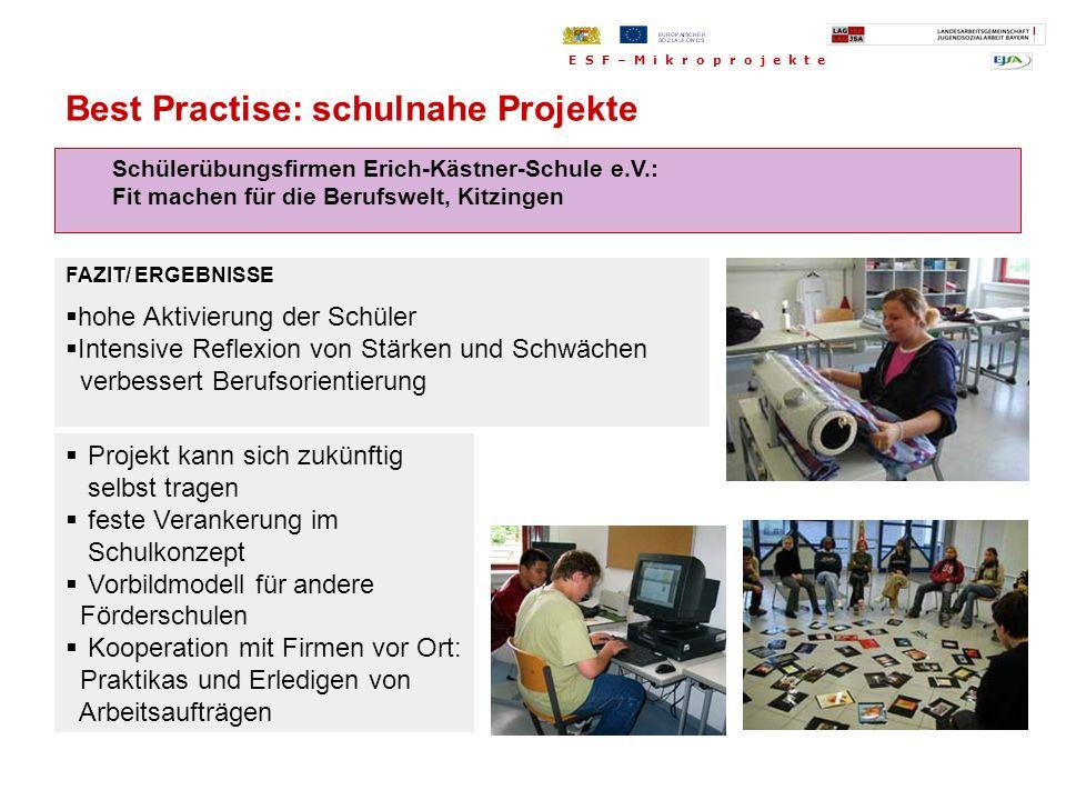 Schülerübungsfirmen Erich-Kästner-Schule e.V.: Fit machen für die Berufswelt, Kitzingen Projekt kann sich zukünftig selbst tragen feste Verankerung im