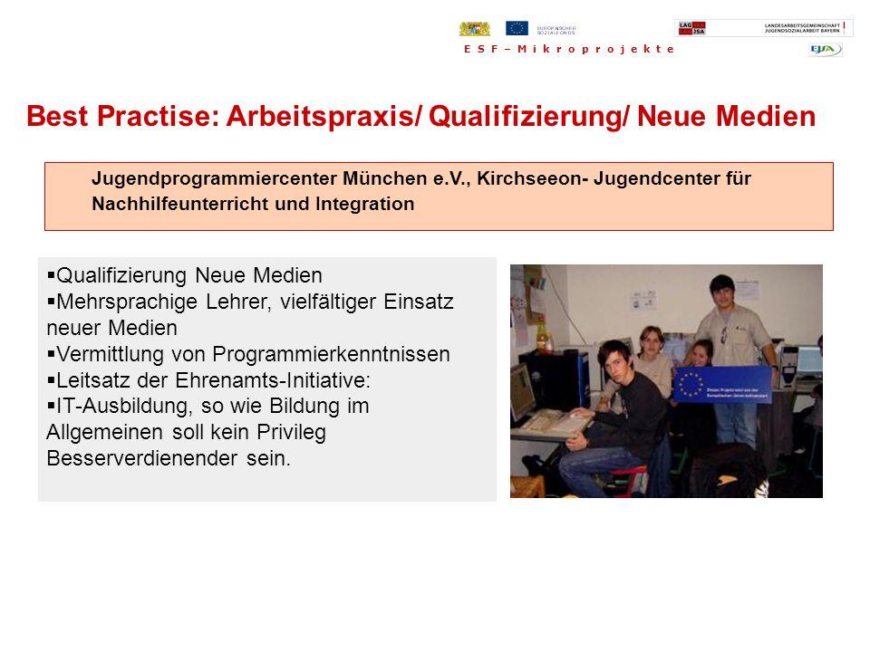 Jugendprogrammiercenter München e.V., Kirchseeon- Jugendcenter für Nachhilfeunterricht und Integration Best Practise: Arbeitspraxis/ Qualifizierung/ N