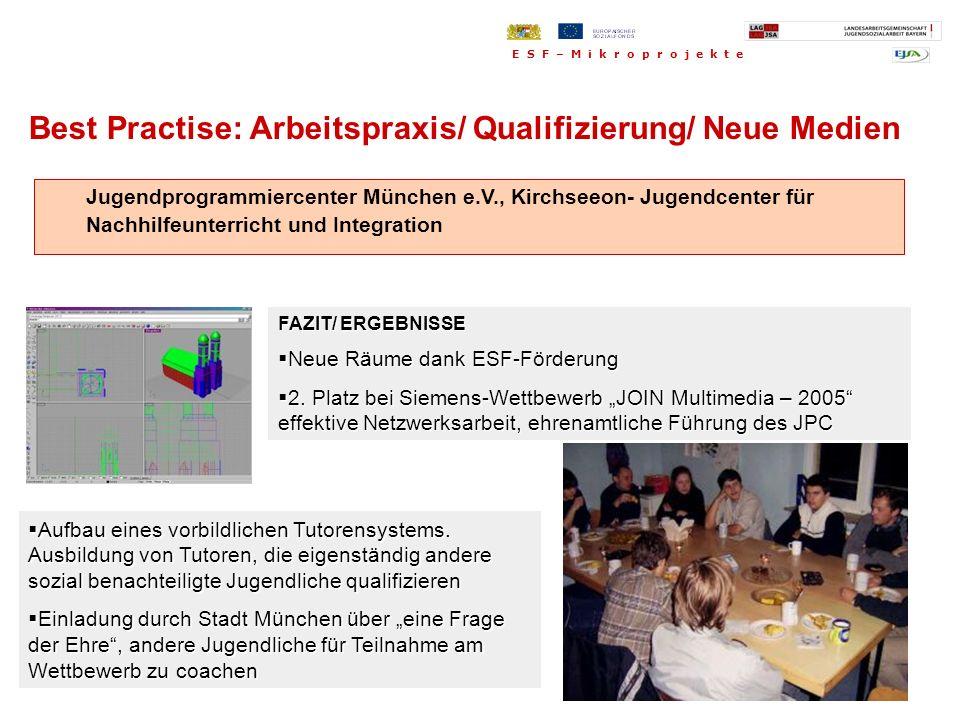 Jugendprogrammiercenter München e.V., Kirchseeon- Jugendcenter für Nachhilfeunterricht und Integration FAZIT/ ERGEBNISSE Neue Räume dank ESF-Förderung