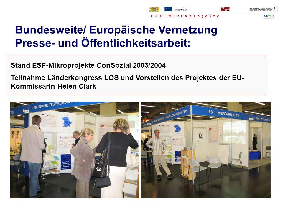 Stand ESF-Mikroprojekte ConSozial 2003/2004 Teilnahme Länderkongress LOS und Vorstellen des Projektes der EU- Kommissarin Helen Clark Bundesweite/ Eur