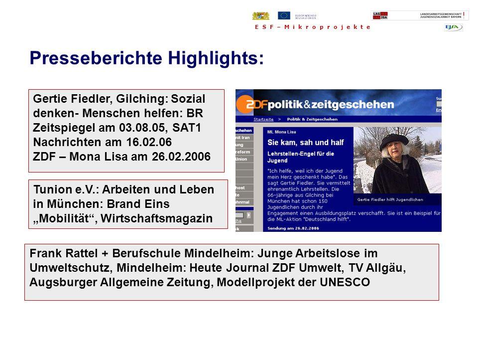 Frank Rattel + Berufschule Mindelheim: Junge Arbeitslose im Umweltschutz, Mindelheim: Heute Journal ZDF Umwelt, TV Allgäu, Augsburger Allgemeine Zeitu