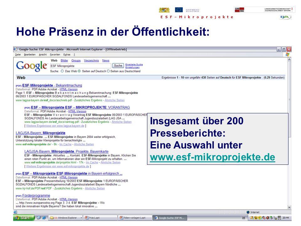 Insgesamt über 200 Presseberichte: Eine Auswahl unter www.esf-mikroprojekte.de Hohe Präsenz in der Öffentlichkeit: E S F – M i k r o p r o j e k t e