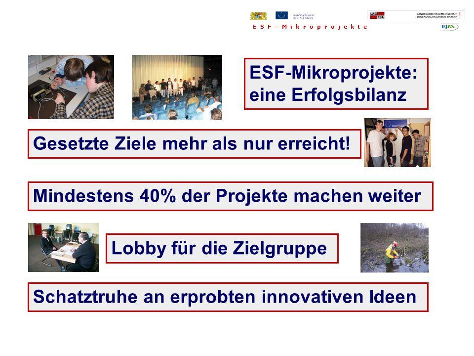 Gesetzte Ziele mehr als nur erreicht! E S F – M i k r o p r o j e k t e Schatztruhe an erprobten innovativen Ideen ESF-Mikroprojekte: eine Erfolgsbila