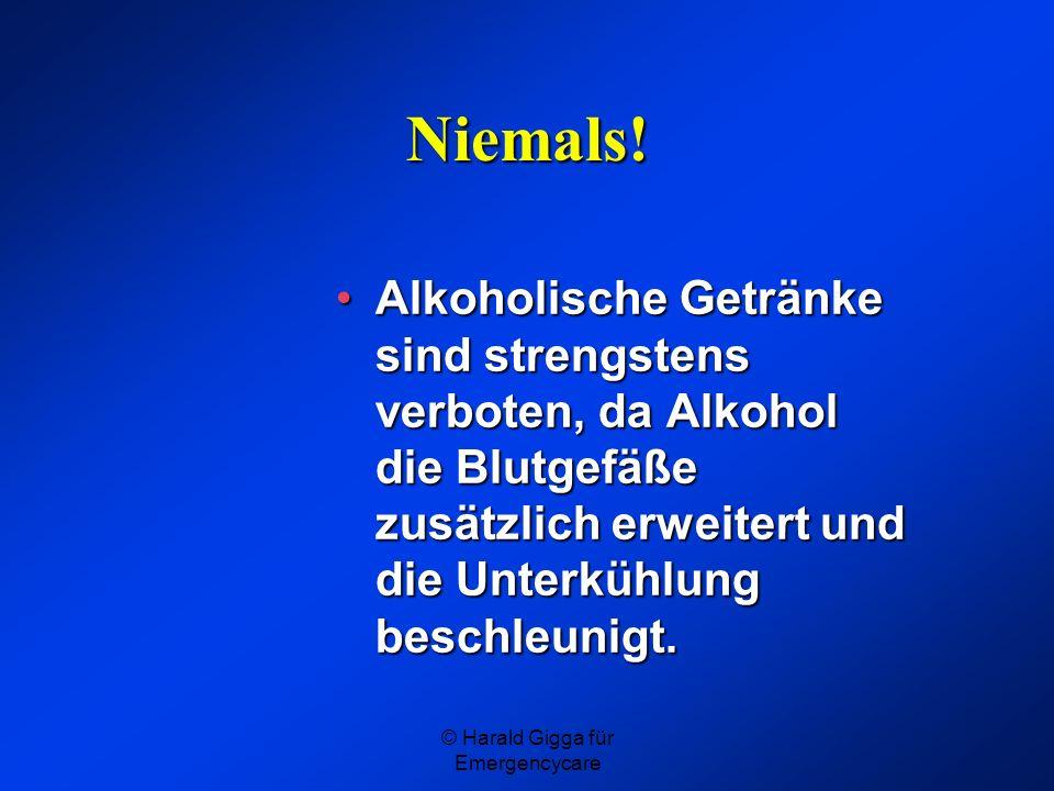 © Harald Gigga für Emergencycare Niemals! Alkoholische Getränke sind strengstens verboten, da Alkohol die Blutgefäße zusätzlich erweitert und die Unte
