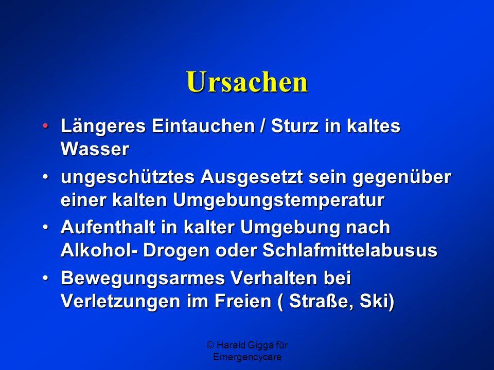© Harald Gigga für Emergencycare Ursachen Längeres Eintauchen / Sturz in kaltes WasserLängeres Eintauchen / Sturz in kaltes Wasser ungeschütztes Ausge