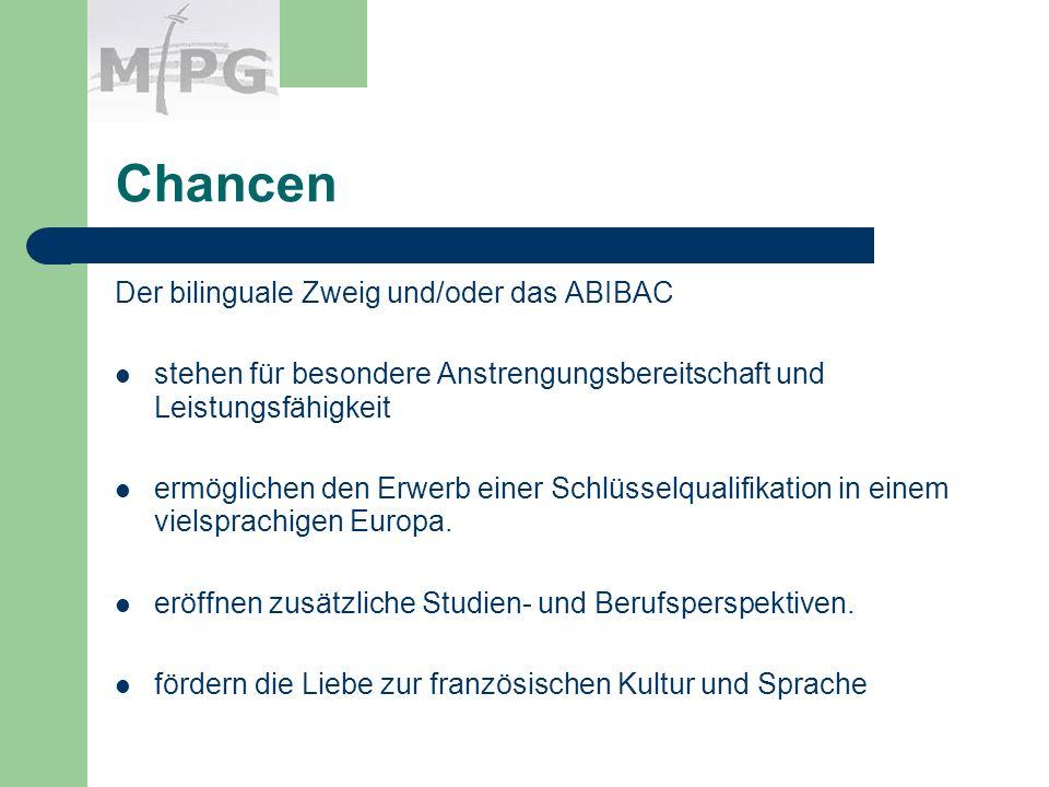 Chancen Der bilinguale Zweig und/oder das ABIBAC stehen für besondere Anstrengungsbereitschaft und Leistungsfähigkeit ermöglichen den Erwerb einer Schlüsselqualifikation in einem vielsprachigen Europa.