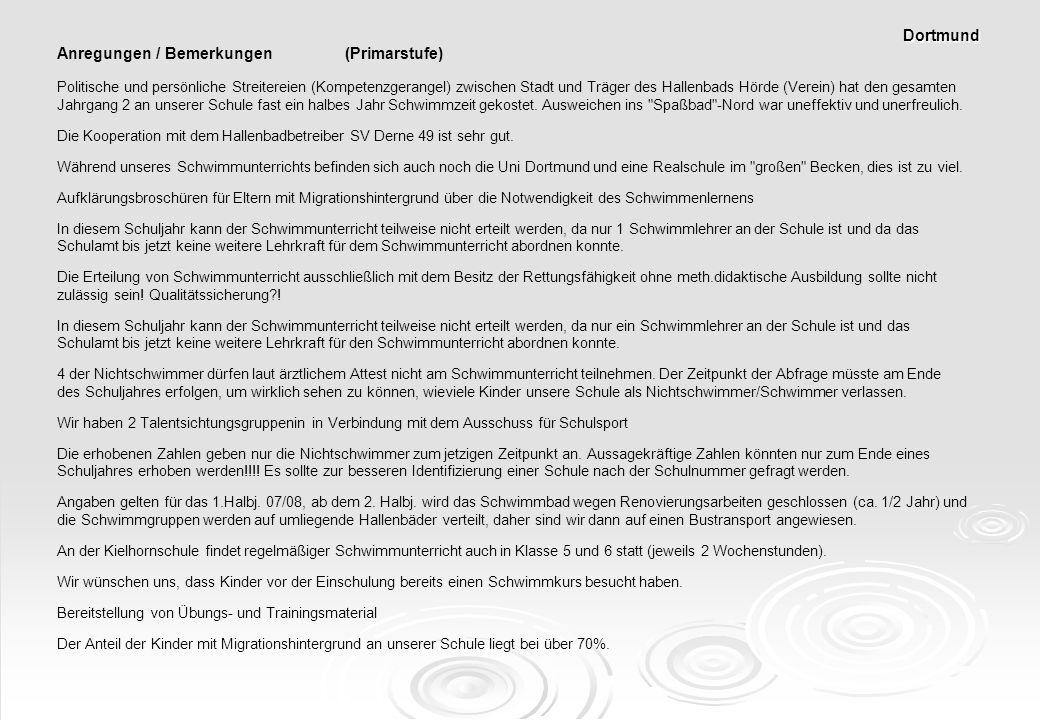Anregungen / Bemerkungen (Primarstufe) Politische und persönliche Streitereien (Kompetenzgerangel) zwischen Stadt und Träger des Hallenbads Hörde (Ver