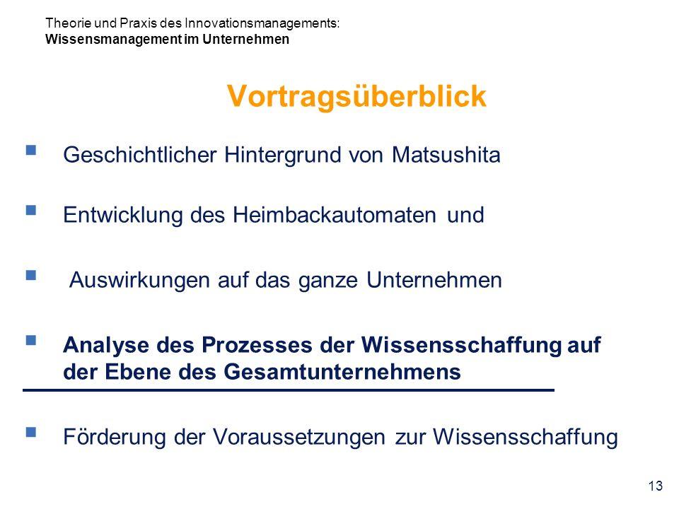 Theorie und Praxis des Innovationsmanagements: Wissensmanagement im Unternehmen 13 Vortragsüberblick Geschichtlicher Hintergrund von Matsushita Entwic