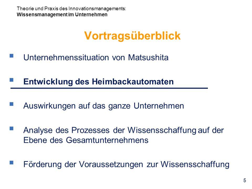 Theorie und Praxis des Innovationsmanagements: Wissensmanagement im Unternehmen 5 Vortragsüberblick Unternehmenssituation von Matsushita Entwicklung d