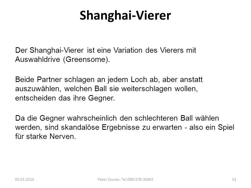 Shanghai-Vierer Der Shanghai-Vierer ist eine Variation des Vierers mit Auswahldrive (Greensome). Beide Partner schlagen an jedem Loch ab, aber anstatt