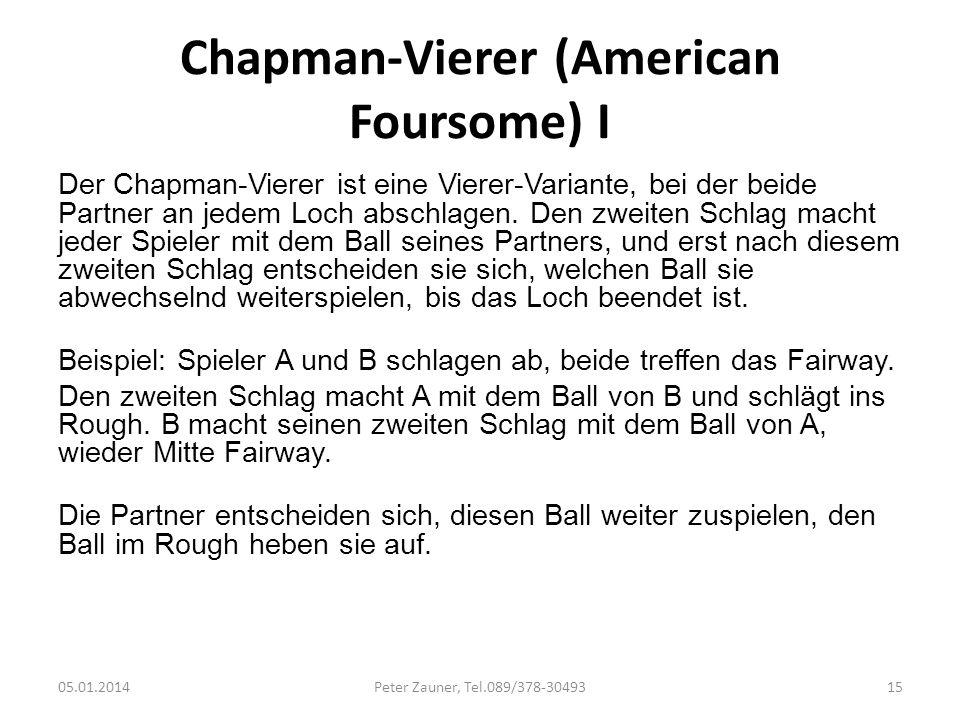 Chapman-Vierer (American Foursome) I Der Chapman-Vierer ist eine Vierer-Variante, bei der beide Partner an jedem Loch abschlagen. Den zweiten Schlag m