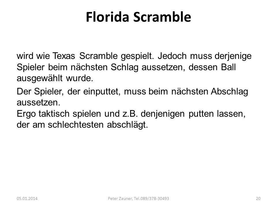 Florida Scramble wird wie Texas Scramble gespielt. Jedoch muss derjenige Spieler beim nächsten Schlag aussetzen, dessen Ball ausgewählt wurde. Der Spi