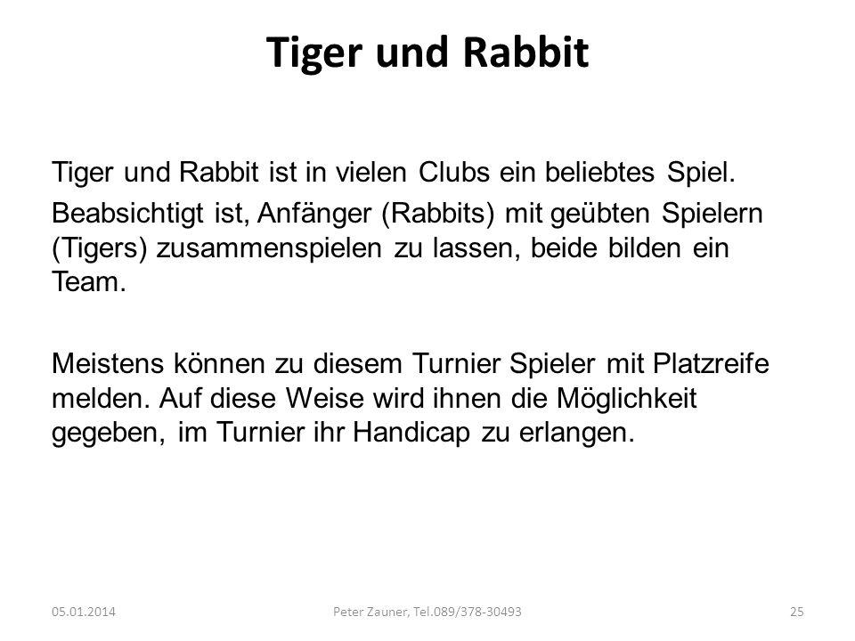 Tiger und Rabbit Tiger und Rabbit ist in vielen Clubs ein beliebtes Spiel. Beabsichtigt ist, Anfänger (Rabbits) mit geübten Spielern (Tigers) zusammen