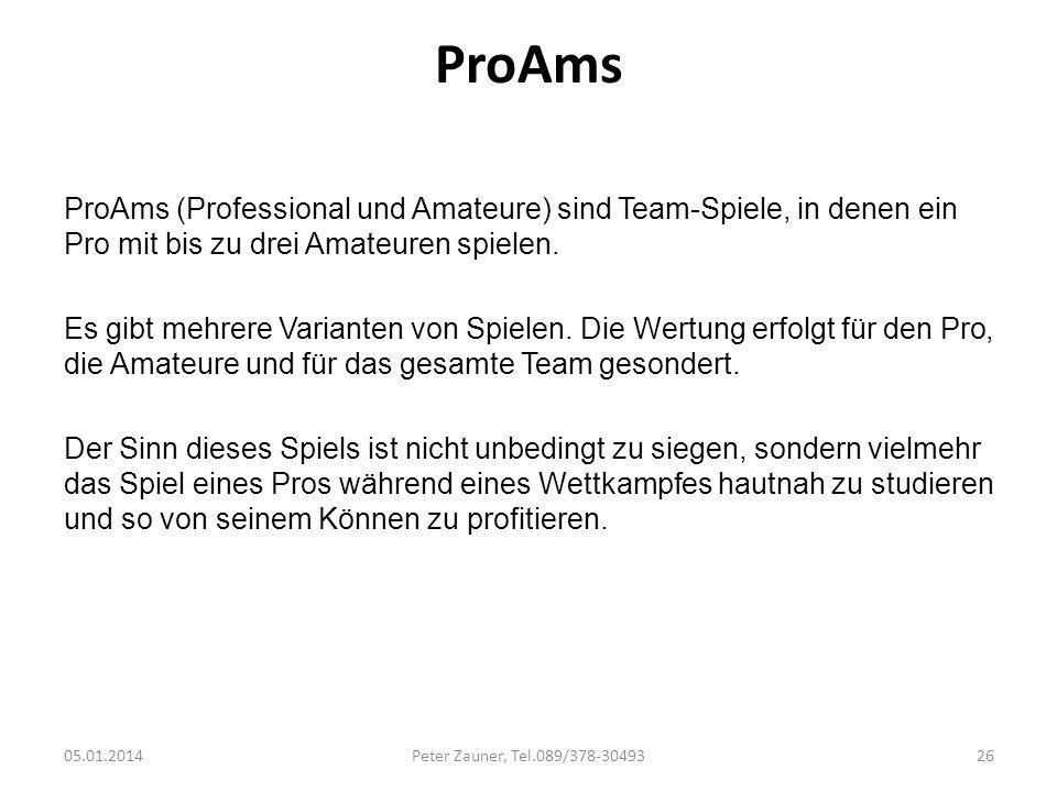 ProAms ProAms (Professional und Amateure) sind Team-Spiele, in denen ein Pro mit bis zu drei Amateuren spielen. Es gibt mehrere Varianten von Spielen.