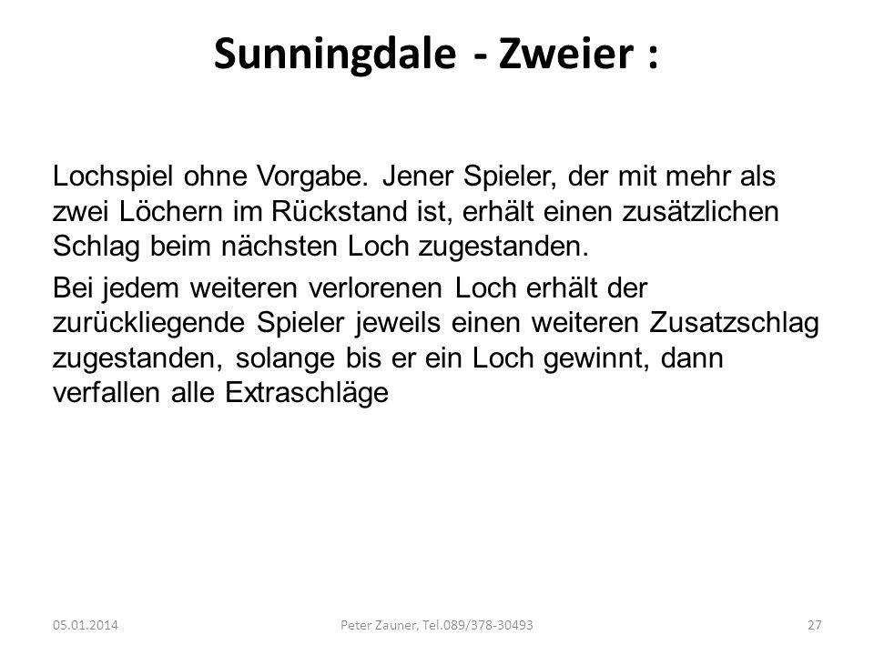 Sunningdale - Zweier : Lochspiel ohne Vorgabe. Jener Spieler, der mit mehr als zwei Löchern im Rückstand ist, erhält einen zusätzlichen Schlag beim nä