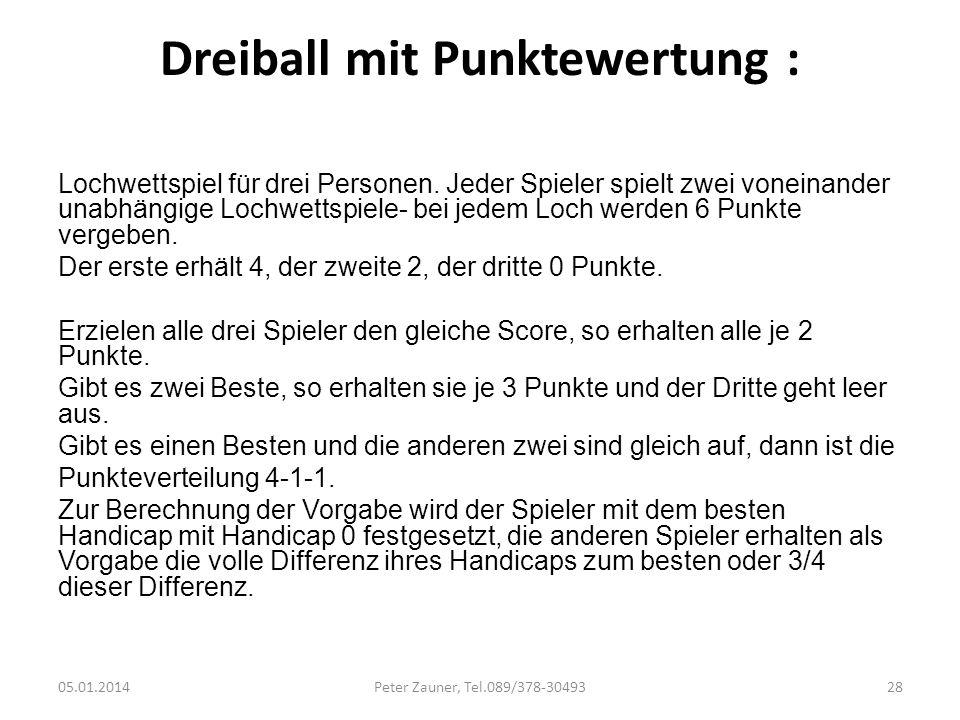 Dreiball mit Punktewertung : Lochwettspiel für drei Personen. Jeder Spieler spielt zwei voneinander unabhängige Lochwettspiele- bei jedem Loch werden