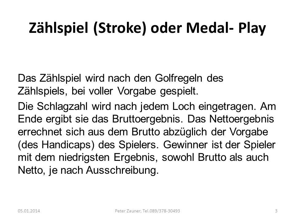 Zählspiel (Stroke) oder Medal- Play Das Zählspiel wird nach den Golfregeln des Zählspiels, bei voller Vorgabe gespielt. Die Schlagzahl wird nach jedem
