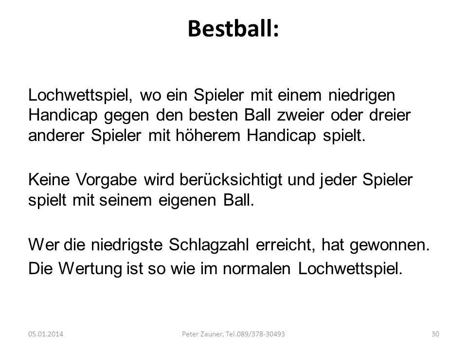 Bestball: Lochwettspiel, wo ein Spieler mit einem niedrigen Handicap gegen den besten Ball zweier oder dreier anderer Spieler mit höherem Handicap spi