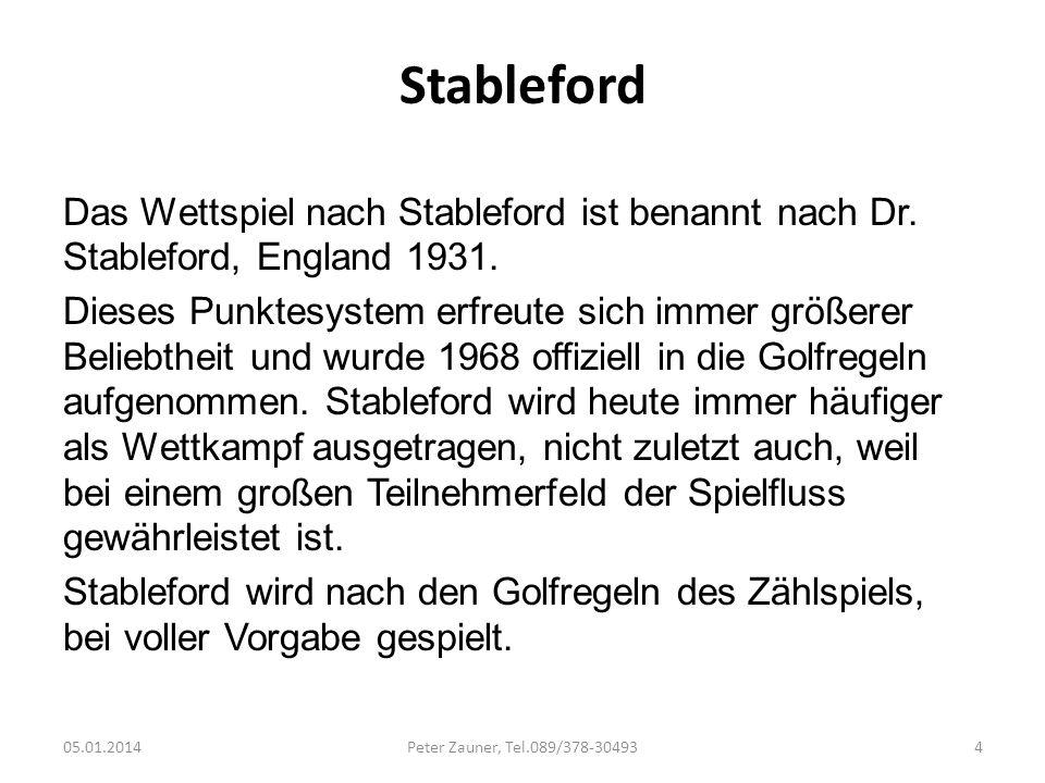 Stableford Das Wettspiel nach Stableford ist benannt nach Dr. Stableford, England 1931. Dieses Punktesystem erfreute sich immer größerer Beliebtheit u