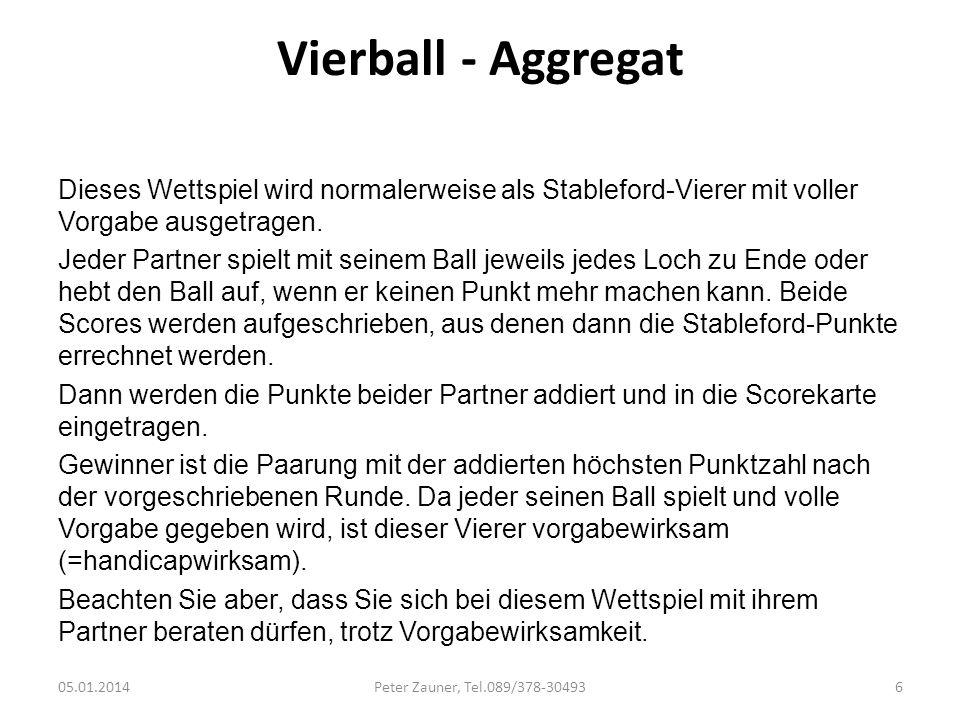 Vierball - Aggregat Dieses Wettspiel wird normalerweise als Stableford-Vierer mit voller Vorgabe ausgetragen. Jeder Partner spielt mit seinem Ball jew