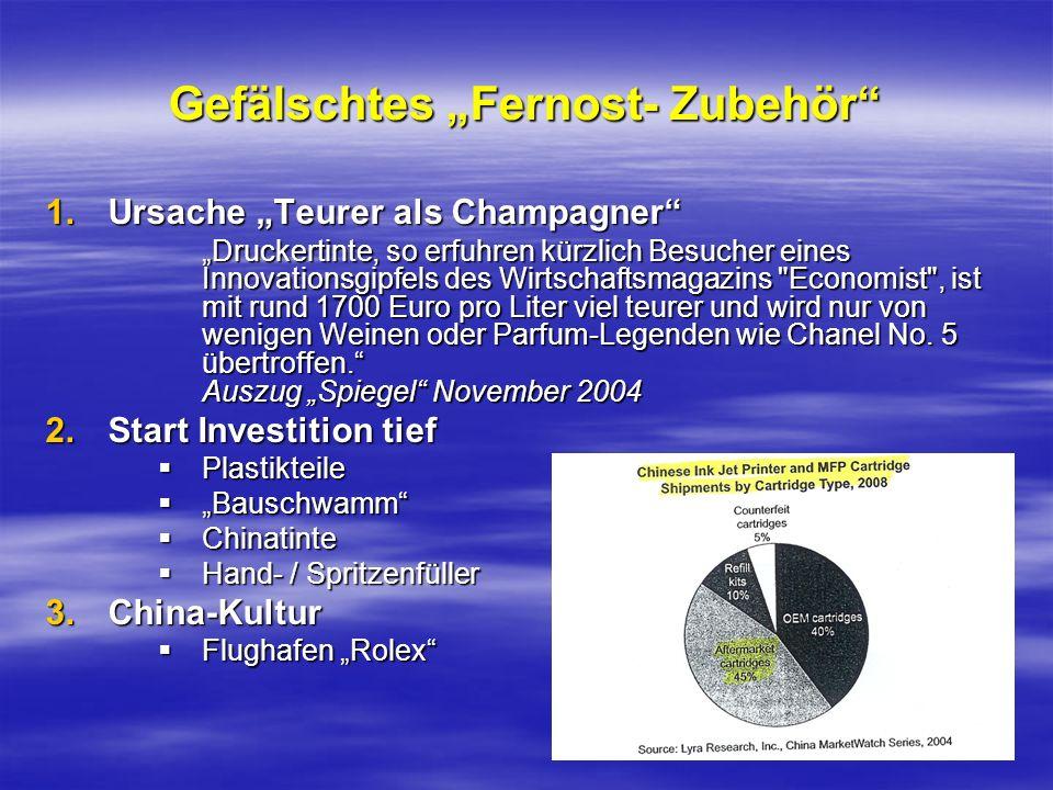 Gefälschtes Fernost- Zubehör 1.Ursache Teurer als Champagner Druckertinte, so erfuhren kürzlich Besucher eines Innovationsgipfels des Wirtschaftsmagaz