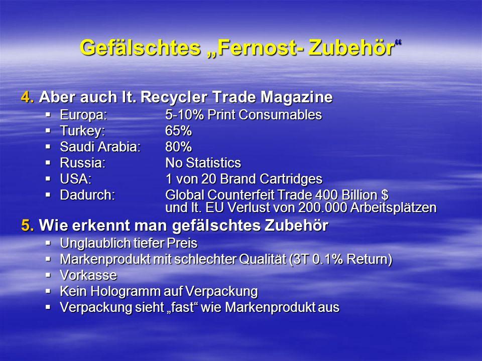 Gefälschtes Fernost- Zubehör 4.Aber auch lt. Recycler Trade Magazine Europa:5-10% Print Consumables Europa:5-10% Print Consumables Turkey:65% Turkey:6