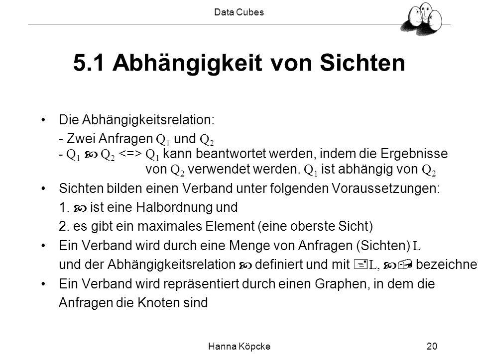 Data Cubes Hanna Köpcke20 5.1 Abhängigkeit von Sichten Die Abhängigkeitsrelation: - Zwei Anfragen Q 1 und Q 2 - Q 1 Q 2 Q 1 kann beantwortet werden, indem die Ergebnisse von Q 2 verwendet werden.