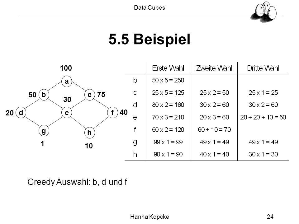 Data Cubes Hanna Köpcke24 5.5 Beispiel a bc fde g h 1 100 20 50 30 10 40 75 Greedy Auswahl: b, d und f
