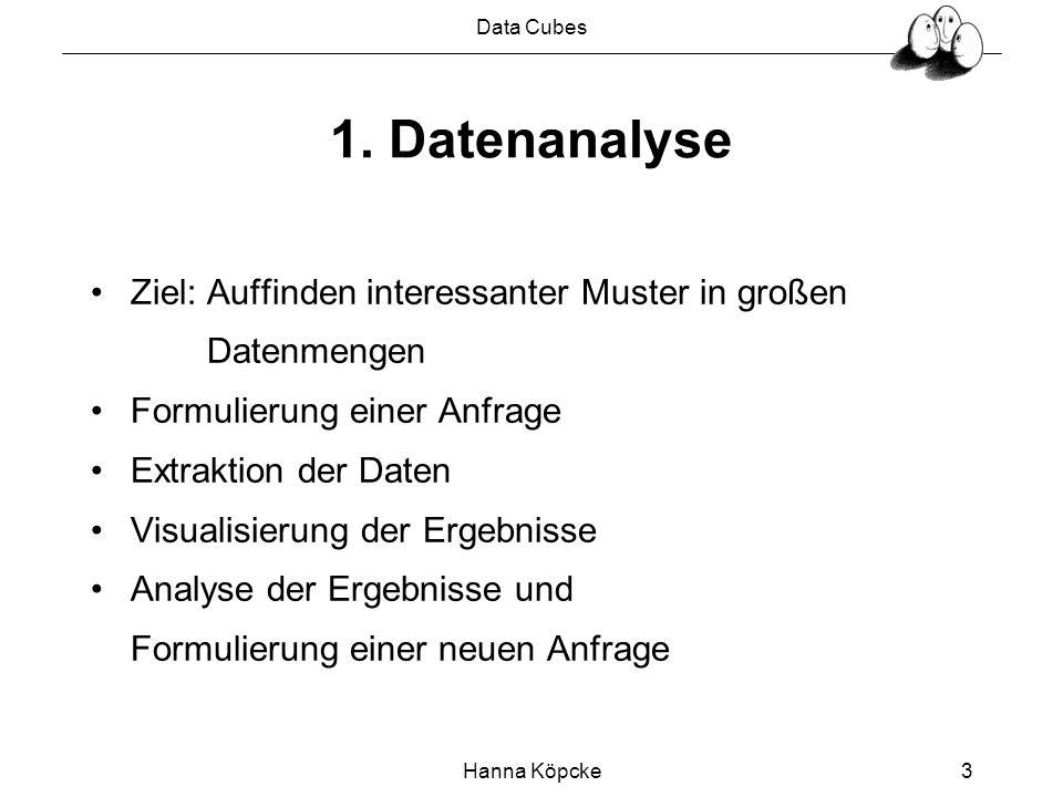 Data Cubes Hanna Köpcke4 1.1 Datenanalysetools Darstellung von Tendenzen, Cluster, Anomalien Datenmenge wird als n-dimensionaler Raum aufgefasst Identifizierung von interessanten Unterräumen In relationalen Systemen werden n-dimensionale Daten als Relationen mit n-Attributen modelliert Dimensionsreduktion durch Aggregation der Daten entlang der weggelassenen Dimensionen