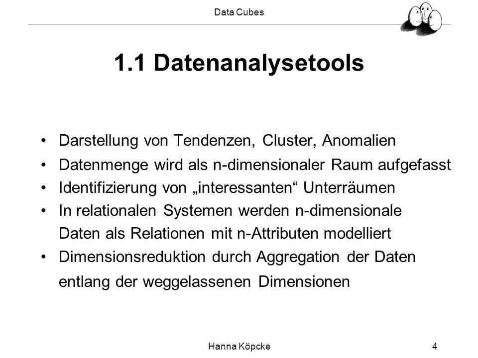 Data Cubes Hanna Köpcke4 1.1 Datenanalysetools Darstellung von Tendenzen, Cluster, Anomalien Datenmenge wird als n-dimensionaler Raum aufgefasst Ident