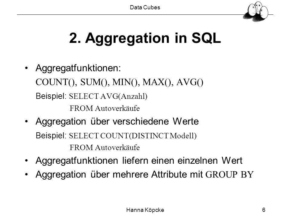 Data Cubes Hanna Köpcke6 2. Aggregation in SQL Aggregatfunktionen: COUNT(), SUM(), MIN(), MAX(), AVG() Beispiel: SELECT AVG(Anzahl) FROM Autoverkäufe