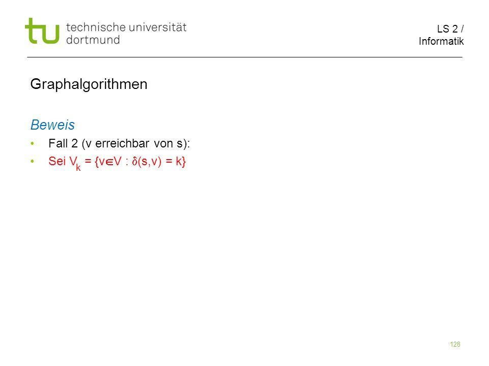 LS 2 / Informatik 128 Beweis Fall 2 (v erreichbar von s): Sei V = {v V : (s,v) = k} Graphalgorithmen k