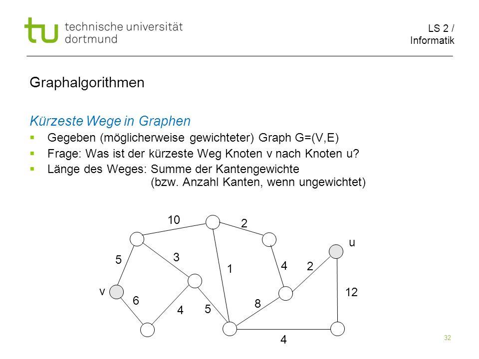 LS 2 / Informatik 32 Kürzeste Wege in Graphen Gegeben (möglicherweise gewichteter) Graph G=(V,E) Frage: Was ist der kürzeste Weg Knoten v nach Knoten u.