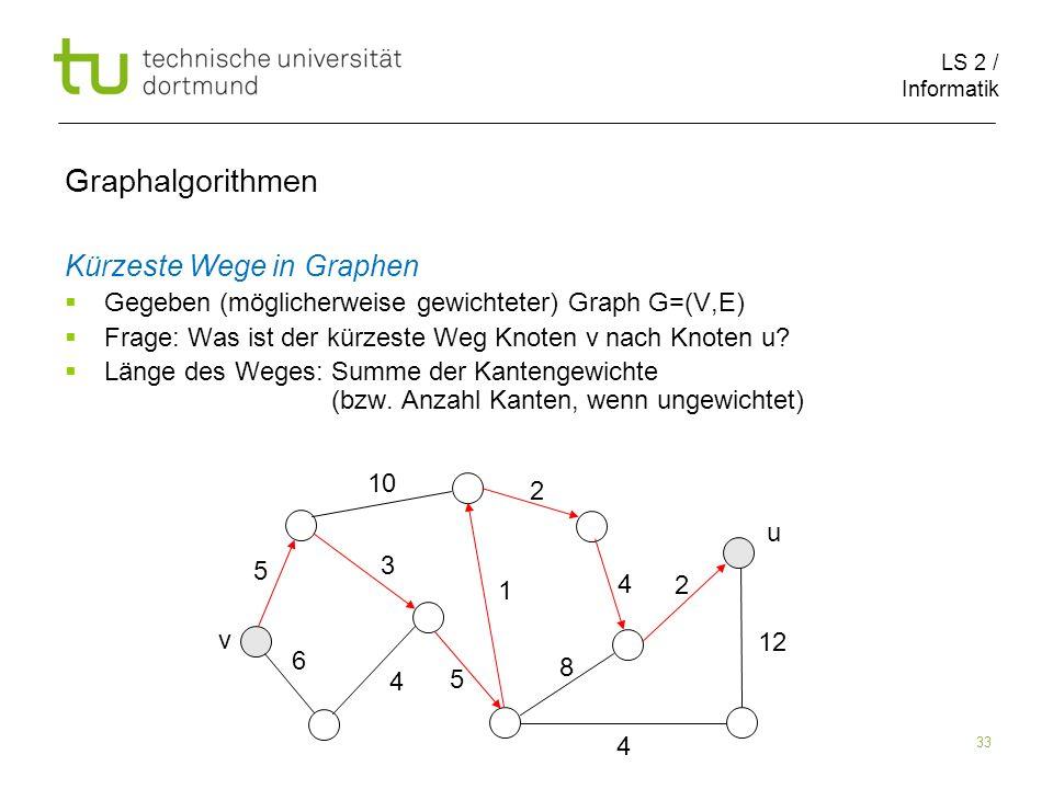 LS 2 / Informatik 33 Kürzeste Wege in Graphen Gegeben (möglicherweise gewichteter) Graph G=(V,E) Frage: Was ist der kürzeste Weg Knoten v nach Knoten u.