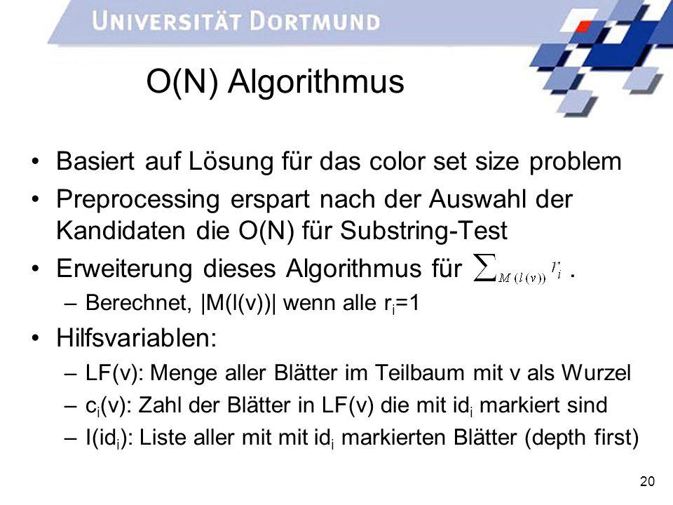 20 O(N) Algorithmus Basiert auf Lösung für das color set size problem Preprocessing erspart nach der Auswahl der Kandidaten die O(N) für Substring-Tes