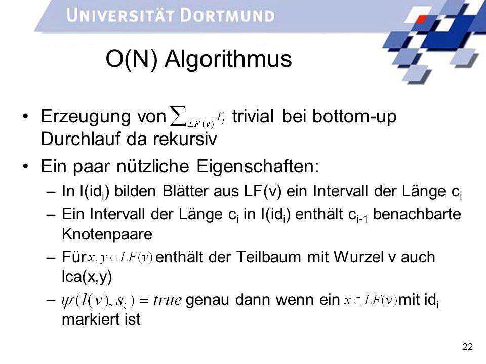 22 O(N) Algorithmus Erzeugung von trivial bei bottom-up Durchlauf da rekursiv Ein paar nützliche Eigenschaften: –In I(id i ) bilden Blätter aus LF(v)