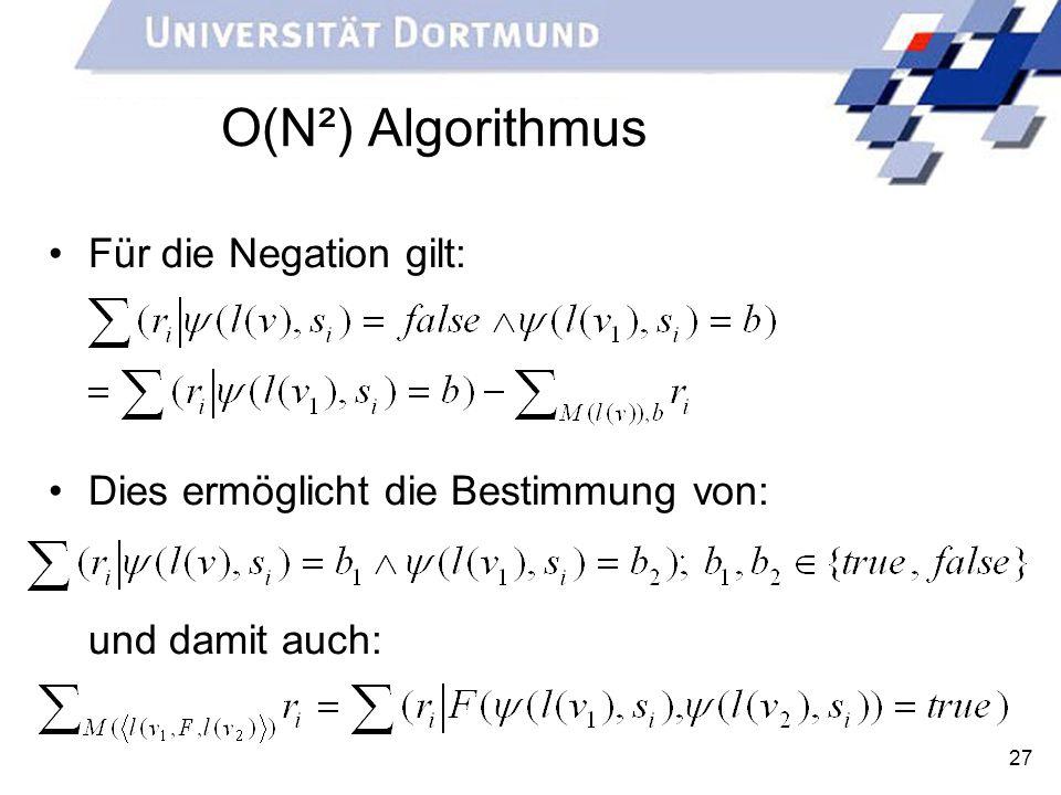 27 O(N²) Algorithmus Für die Negation gilt: Dies ermöglicht die Bestimmung von: und damit auch: