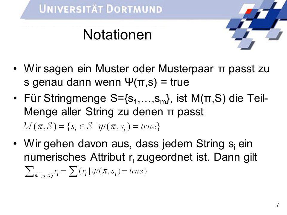 8 Problemdefinition Gegeben sein eine Menge S={s 1,…,s m } von Strings mit jeweils zu s i assoziierten numerischen Werten r i, sowie eine score Funktion Gesucht wird ein Boolsches Musterpaar das score(|M(π)|,Σ M(π) r i ) maximiert.