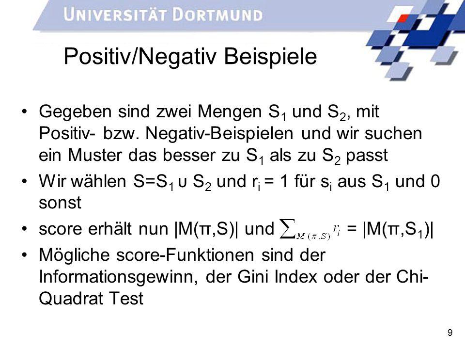 9 Positiv/Negativ Beispiele Gegeben sind zwei Mengen S 1 und S 2, mit Positiv- bzw. Negativ-Beispielen und wir suchen ein Muster das besser zu S 1 als