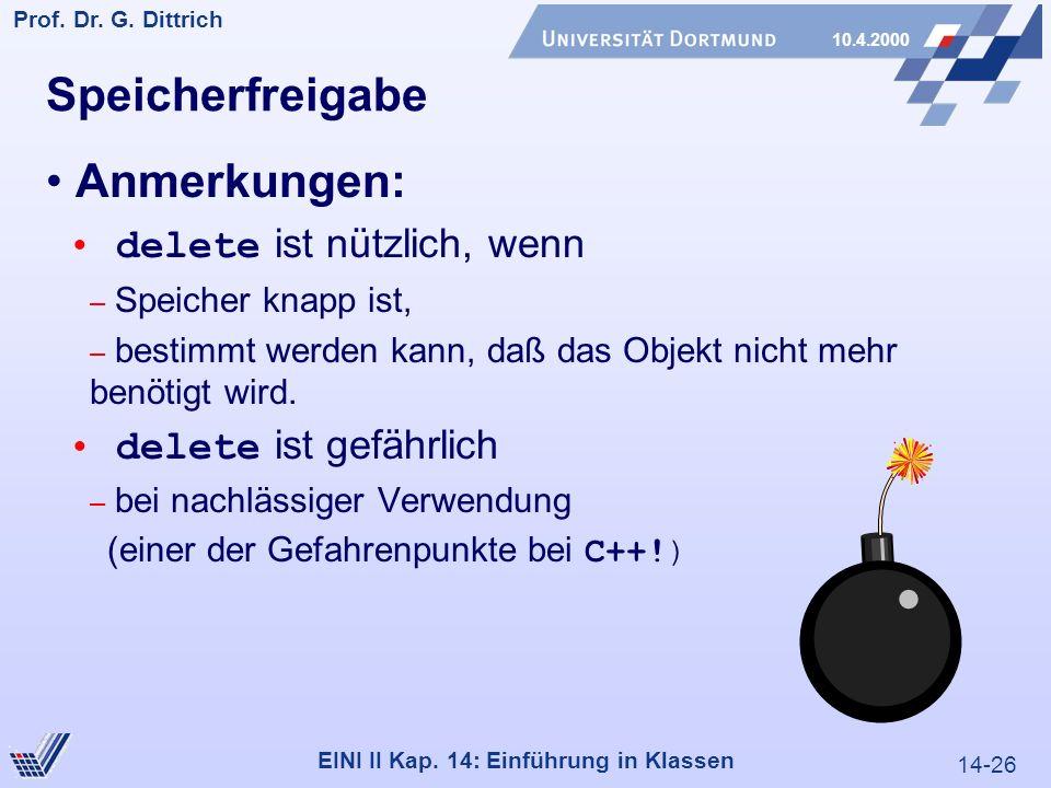 14-26 Prof. Dr. G. Dittrich 10.4.2000 EINI II Kap.