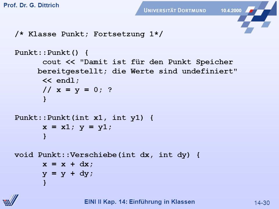 14-30 Prof. Dr. G. Dittrich 10.4.2000 EINI II Kap.