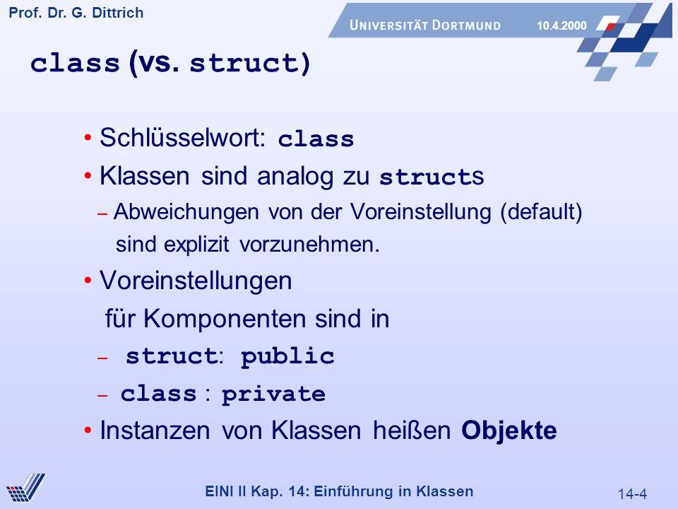 14-4 Prof.Dr. G. Dittrich 10.4.2000 EINI II Kap. 14: Einführung in Klassen class (vs.