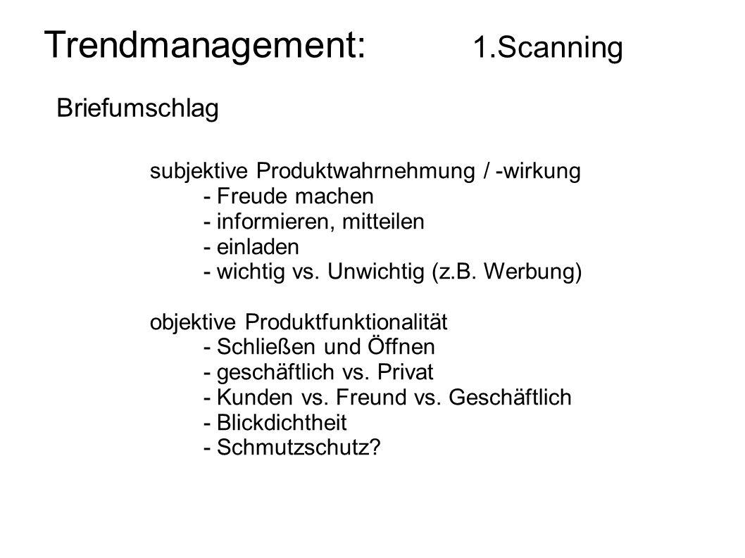 Trendmanagement: 1.Scanning Briefumschlag subjektive Produktwahrnehmung / -wirkung - Freude machen - informieren, mitteilen - einladen - wichtig vs. U